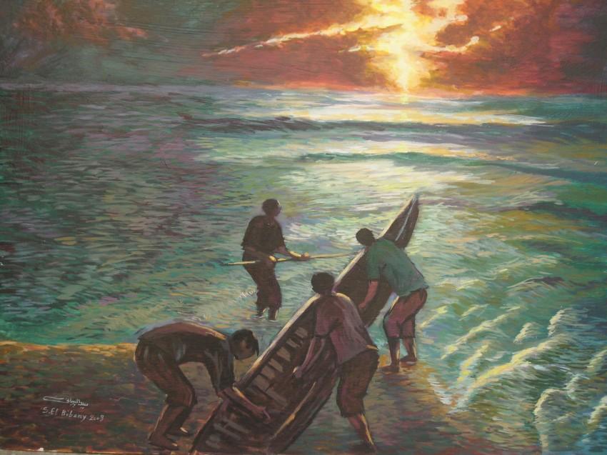 الصيد فى ضوء القمر..اللوحات كلها مصريه