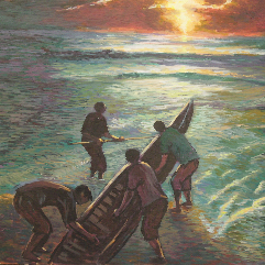 Fishing in the moonlight  The paintings are all Egyptian