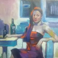 إمرأة جالسة