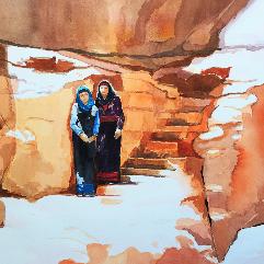 ام وإبنتها البدويتان في ألبتراء