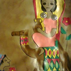 تابلو فن شعبي بالجلد