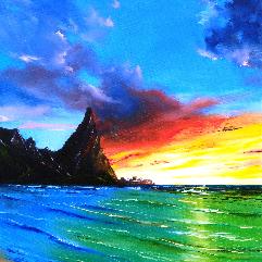 هاواي.، الشاطئ، الغروب