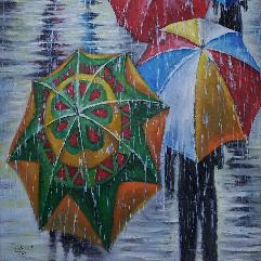 مظلات في المطر