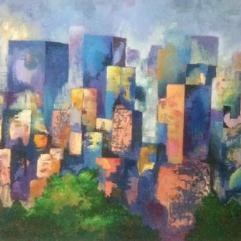صخب المدينة (لوحة مجمعة من ثلاث لوحات )
