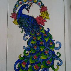 ( الطاووس ( رسم على الزجاج