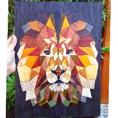 The Lion ( Wood Marquetry Art )