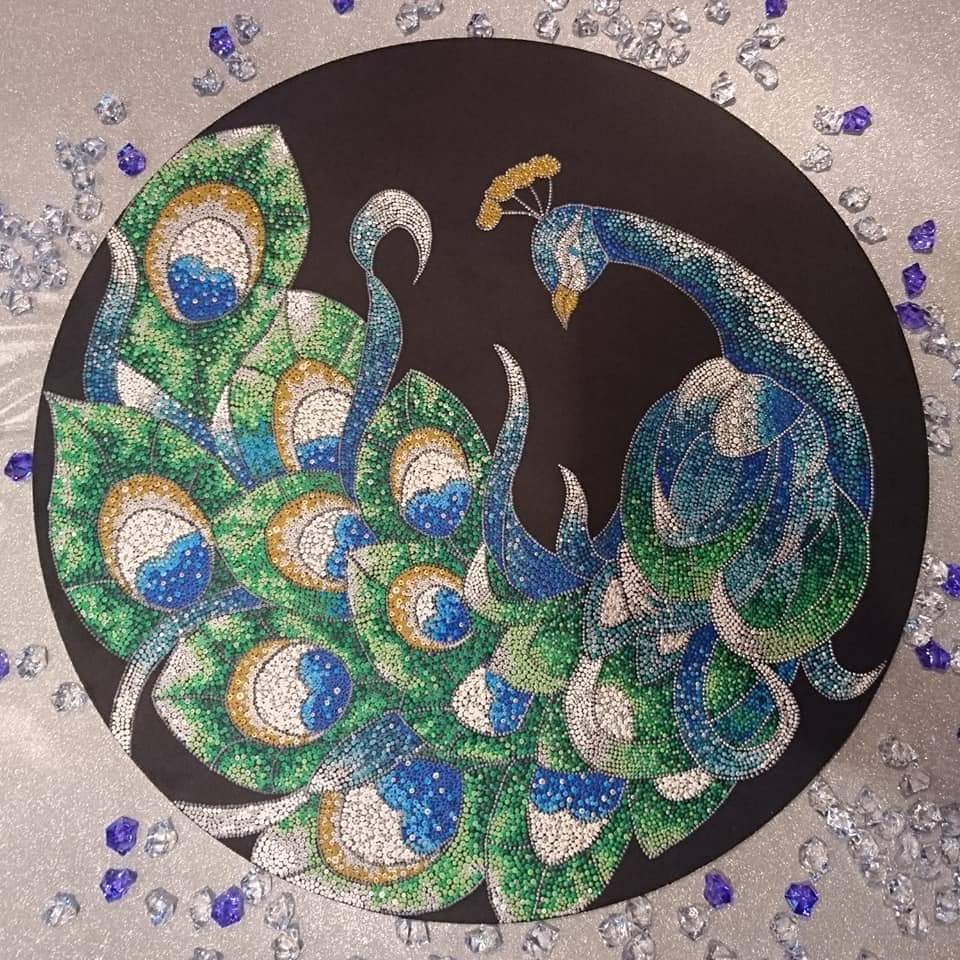 The Peacock ( Dot painting )   Arab Art For Sale