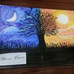 (الشمس و القمر (باستيل زيت