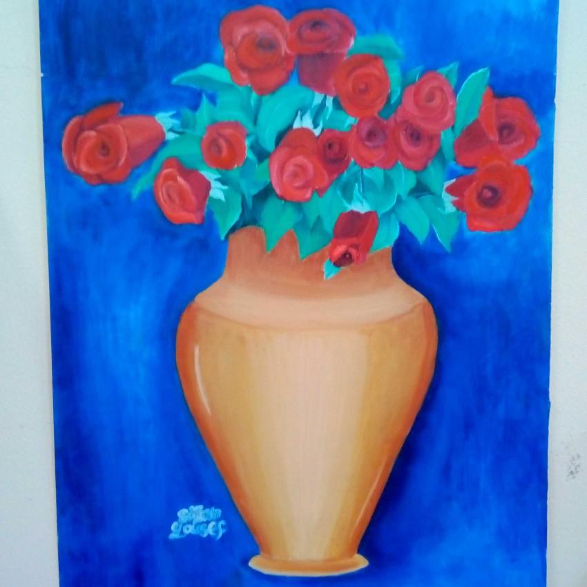 زهرية الورد الاحمر