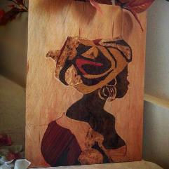 (المراه الافريقيه الجذابه  (فن قشرة الخشب