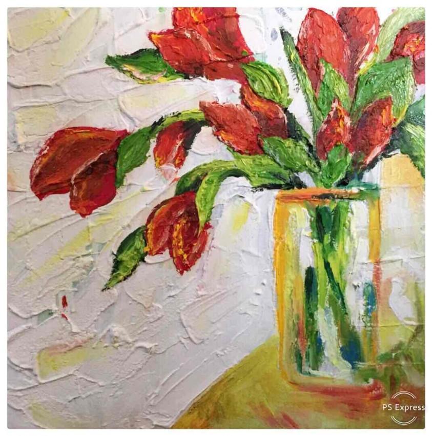 فازة الورود الحمراء