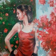 Lady In The Flowers Garden