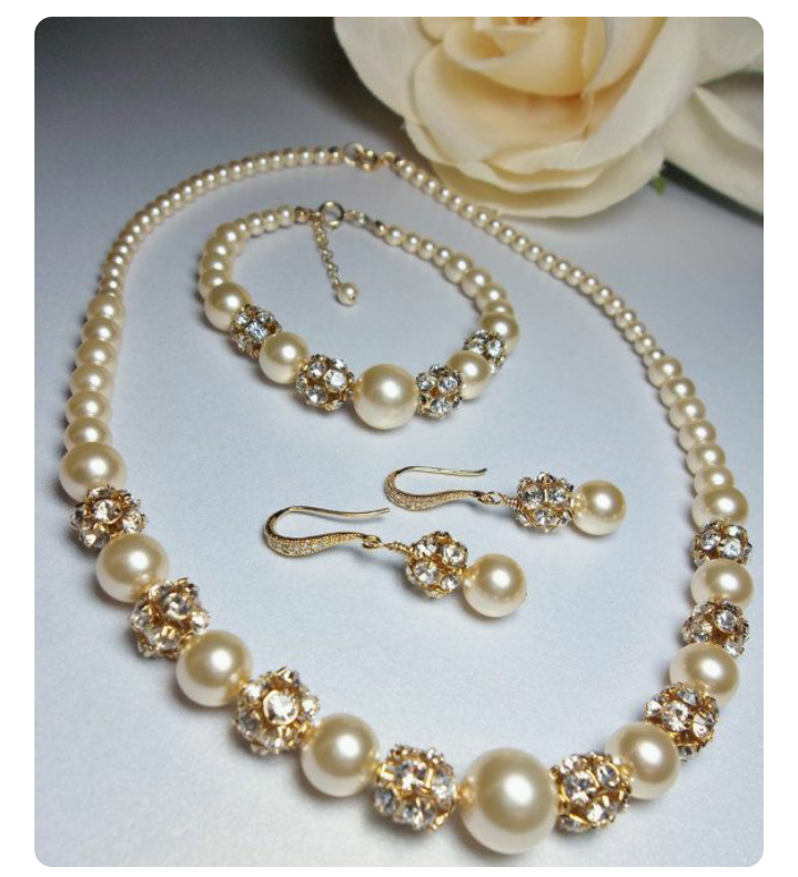 Accessories Set Artificial Pearls