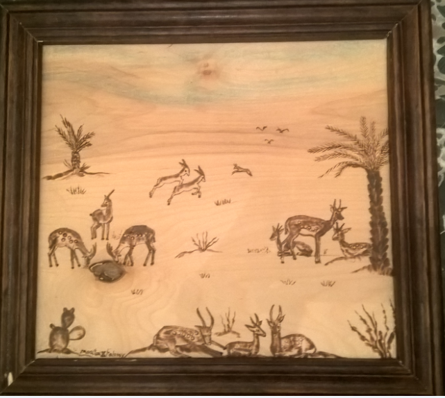 Gazelle In The Desert (Burning On Wood)