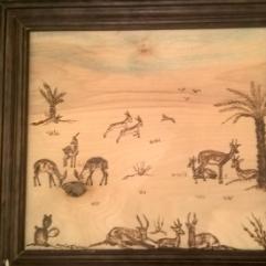 Gazelle In The Desert (Burning On Wood)