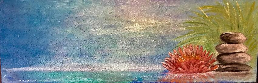 زهرة لوتس حمراء- لوحة للتأمل
