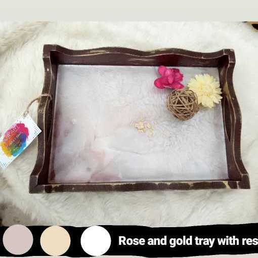 Rose Gold Tray With Resin