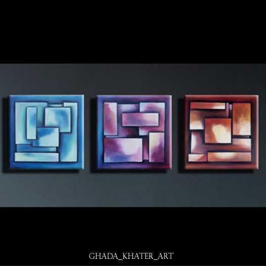 (هندسي  (مجموعة من ٣ لوحات معا
