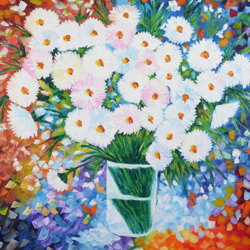 فازة الزهور البيضاء