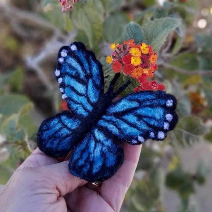 Felted Blue Morpho Butterfly Brooch
