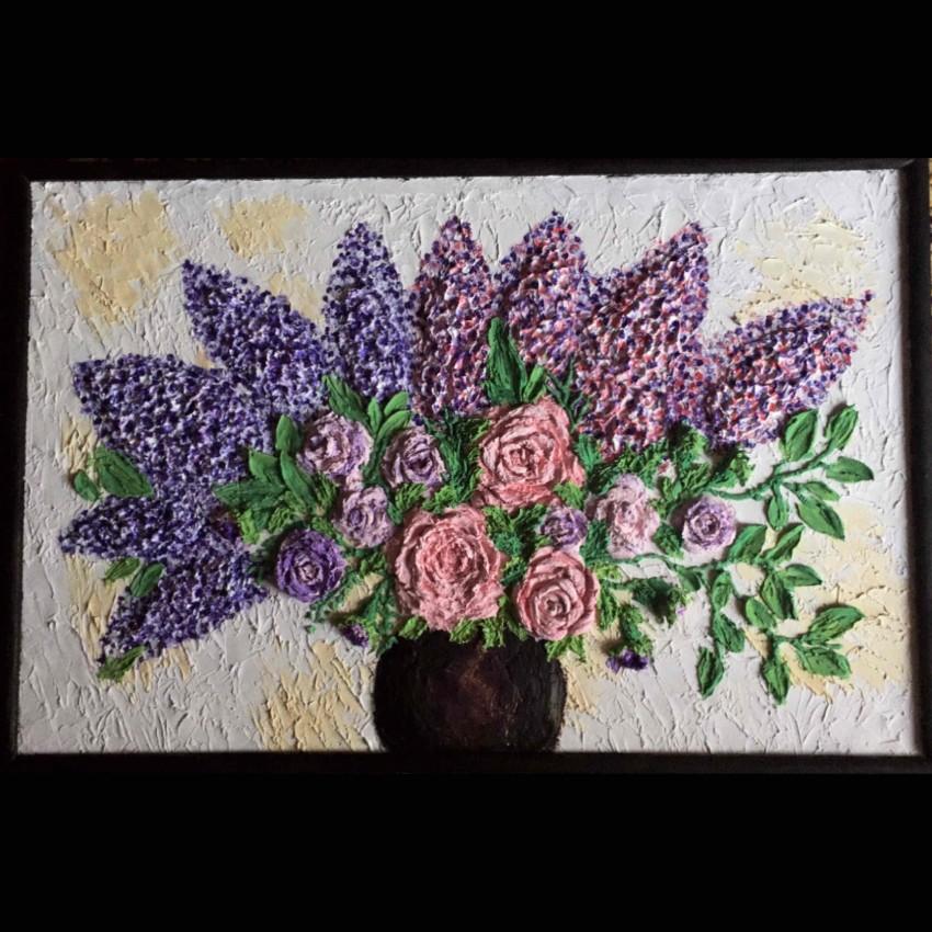 Vase Of Flowers (Sculpture Painting)