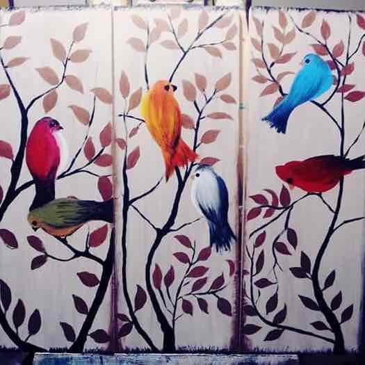 (طيور (مجموعة من ٣ لوحات معا