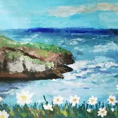 زهور مع البحر
