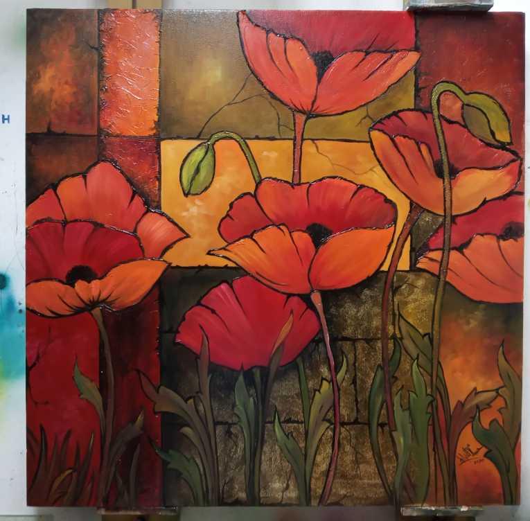 زهور الخشخاش الحمراء