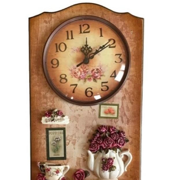 ساعة مطبخ خشب