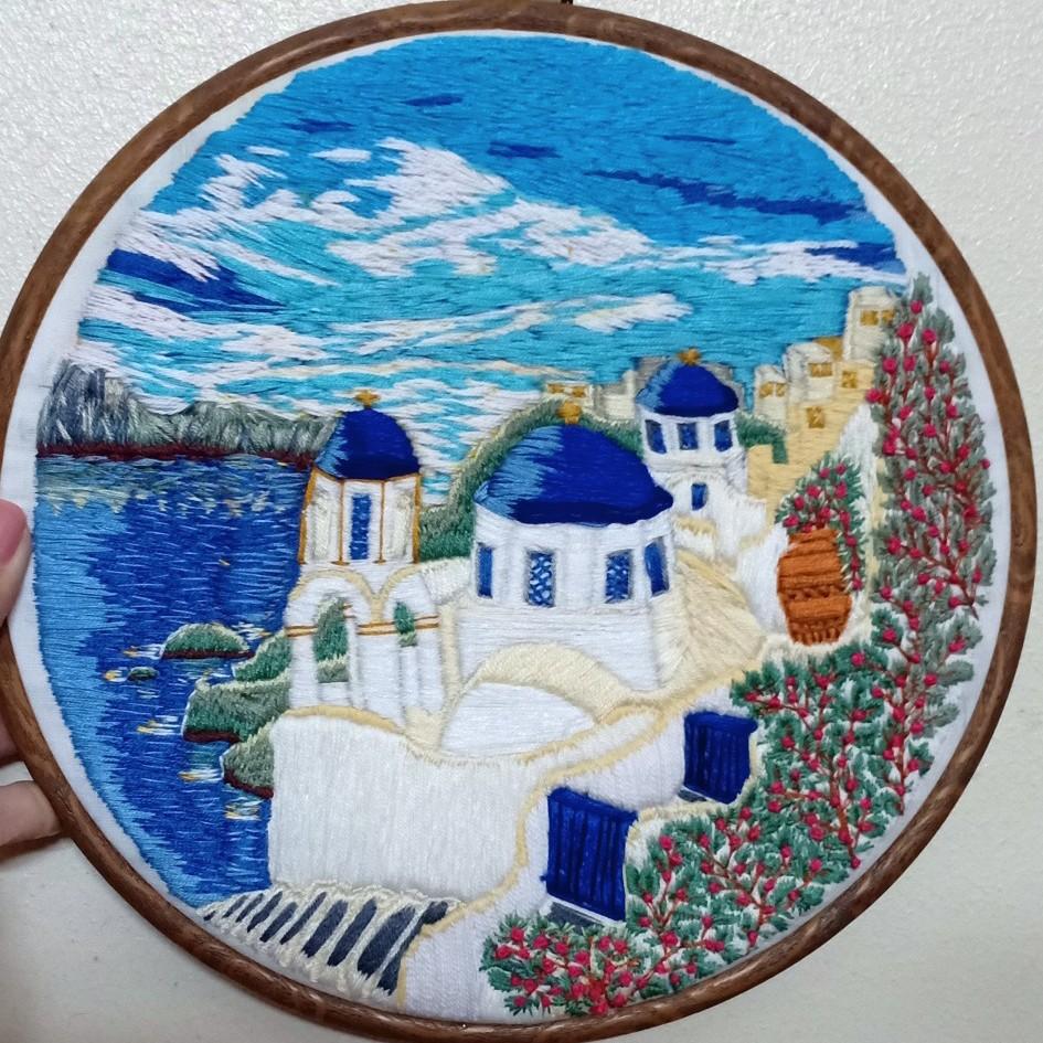 Santorini, Greece, Embroidery Hoop