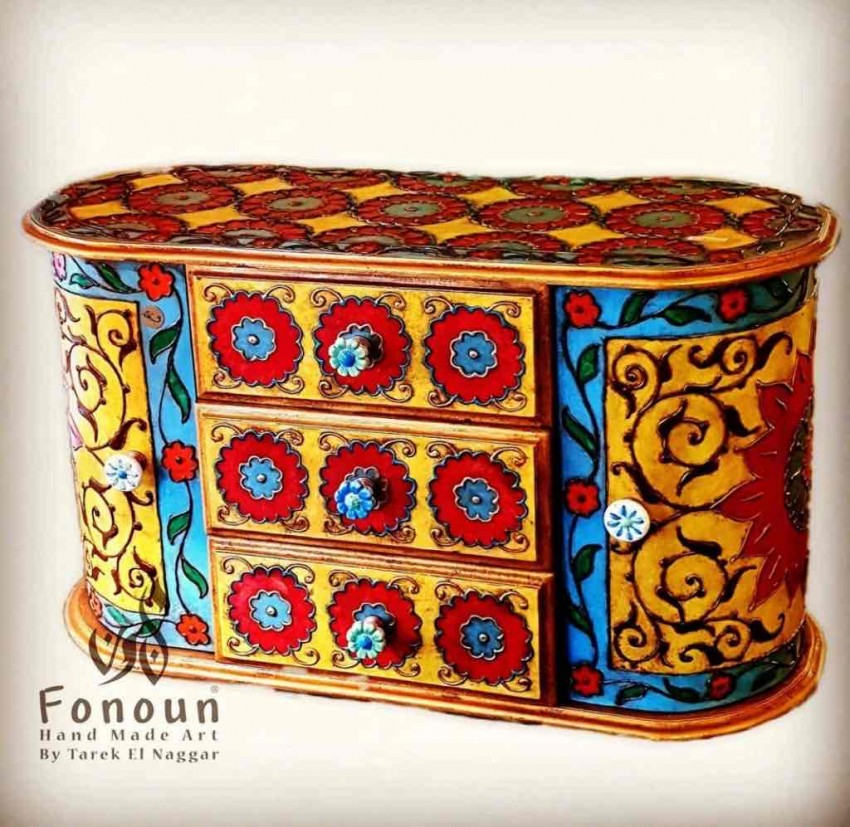 Hand Painted Drawers Unit