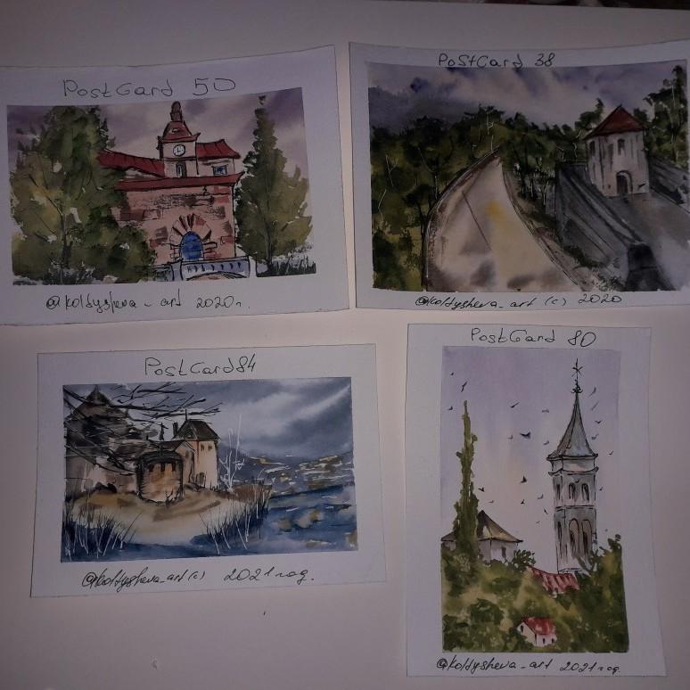 بطاقات بريدية ألوان مائية