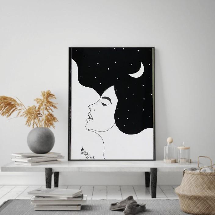 الفتاه والقمر
