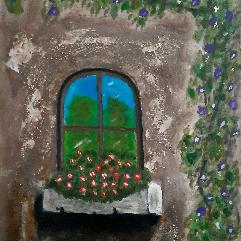 شباك الزهور القديم