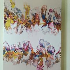 (زهور الربيع  (فن سكب الأكريليك