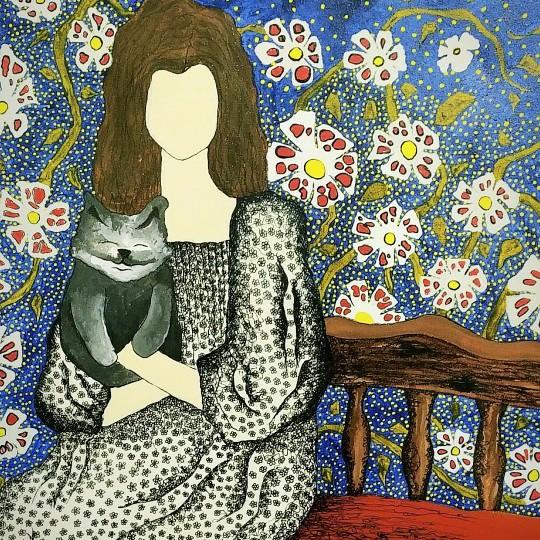 الفتاة مع القطة