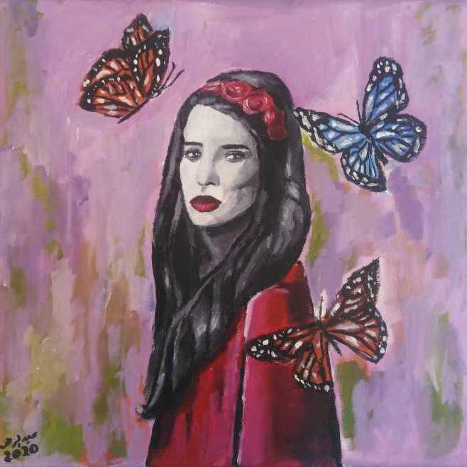 الفتاة و الفراشات